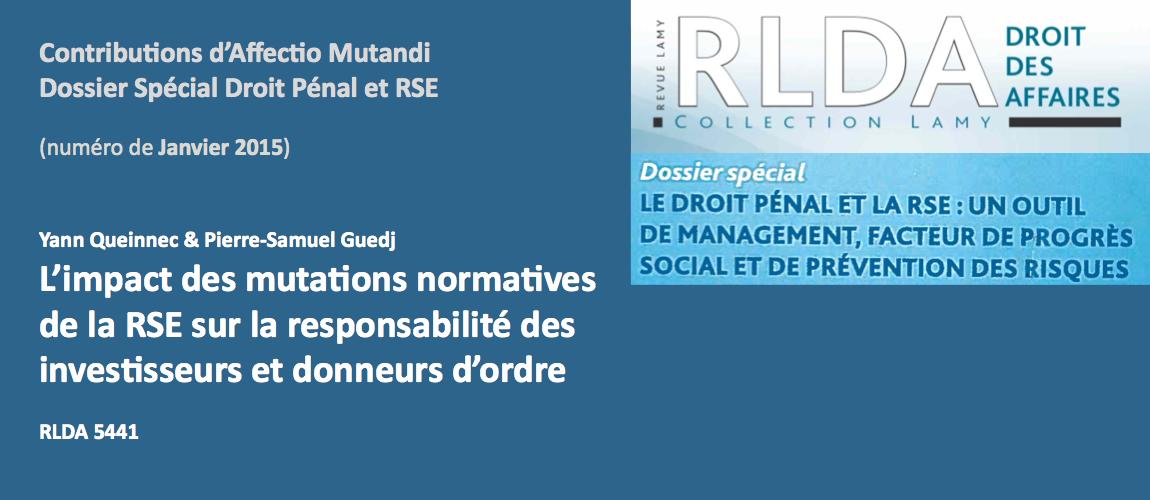 RLDA JANVIER 2015 RSE Pénal